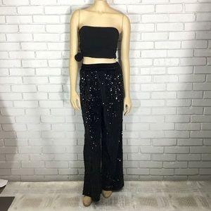 New Look Women's Black Velvet Sequin PJ Bottoms